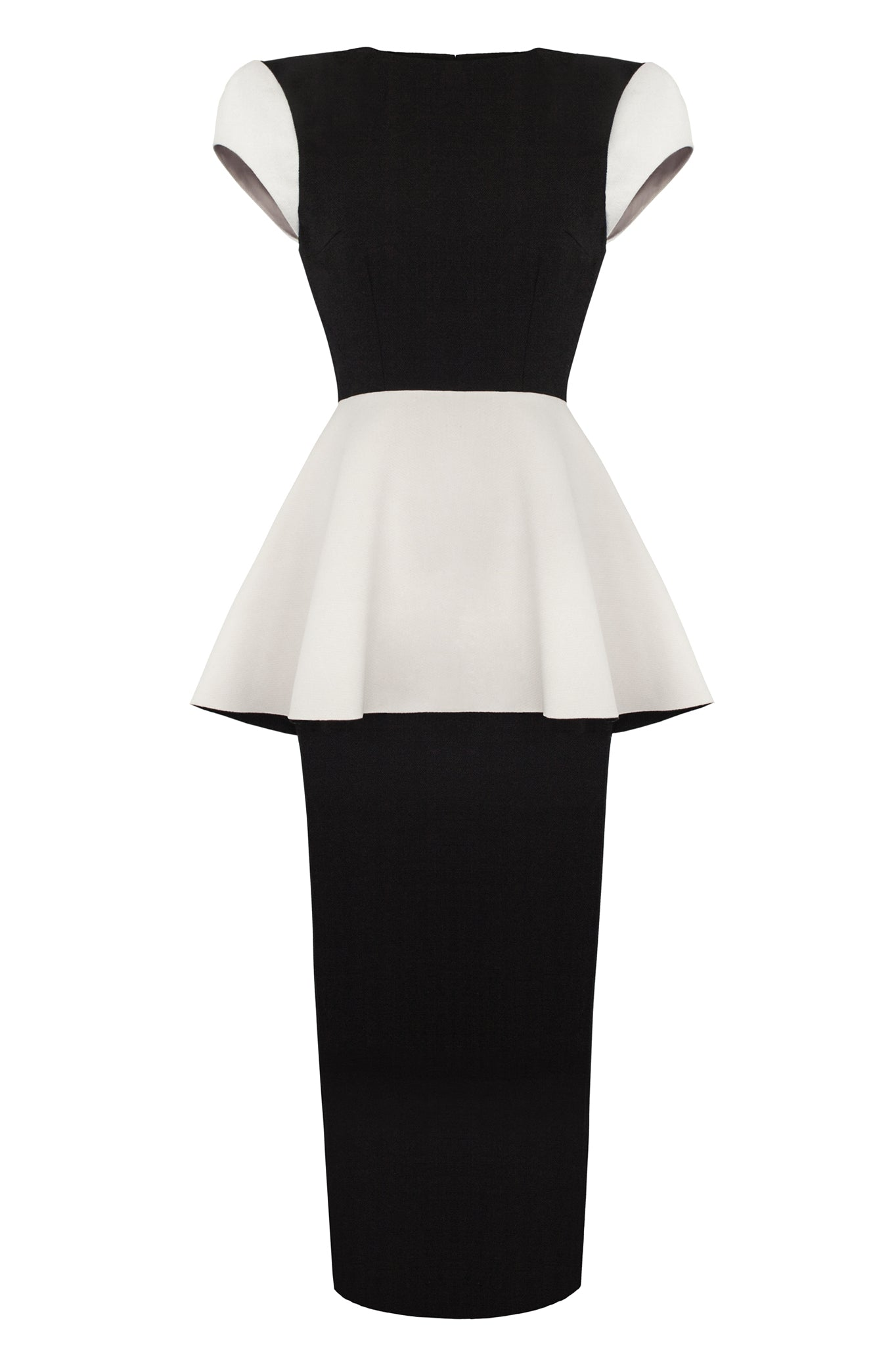 This tailored 'Spray' dress is semi-fitted and slimline to the ankle, with an elongated back vent split. Featuring a capped sleeve and angled beige peplum.