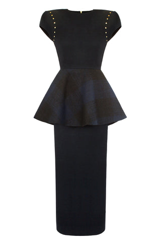 "Navy Blue and Tartan Wool ""Spray"" Dress"