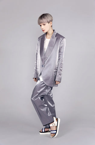 High Shine Silver ''Blake'' Trouser