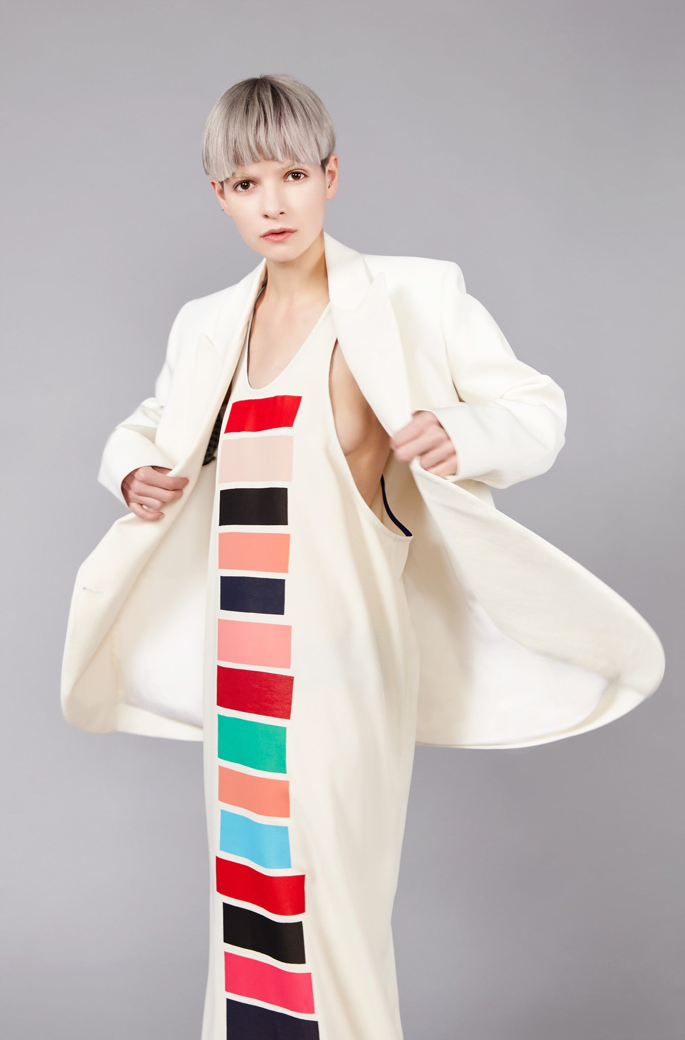 "White and Cream ""Tria"" Formal Jacket"