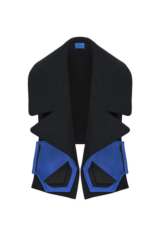 "Black Wool and Blue Satin ""Block with pockets"" Collar Piece"