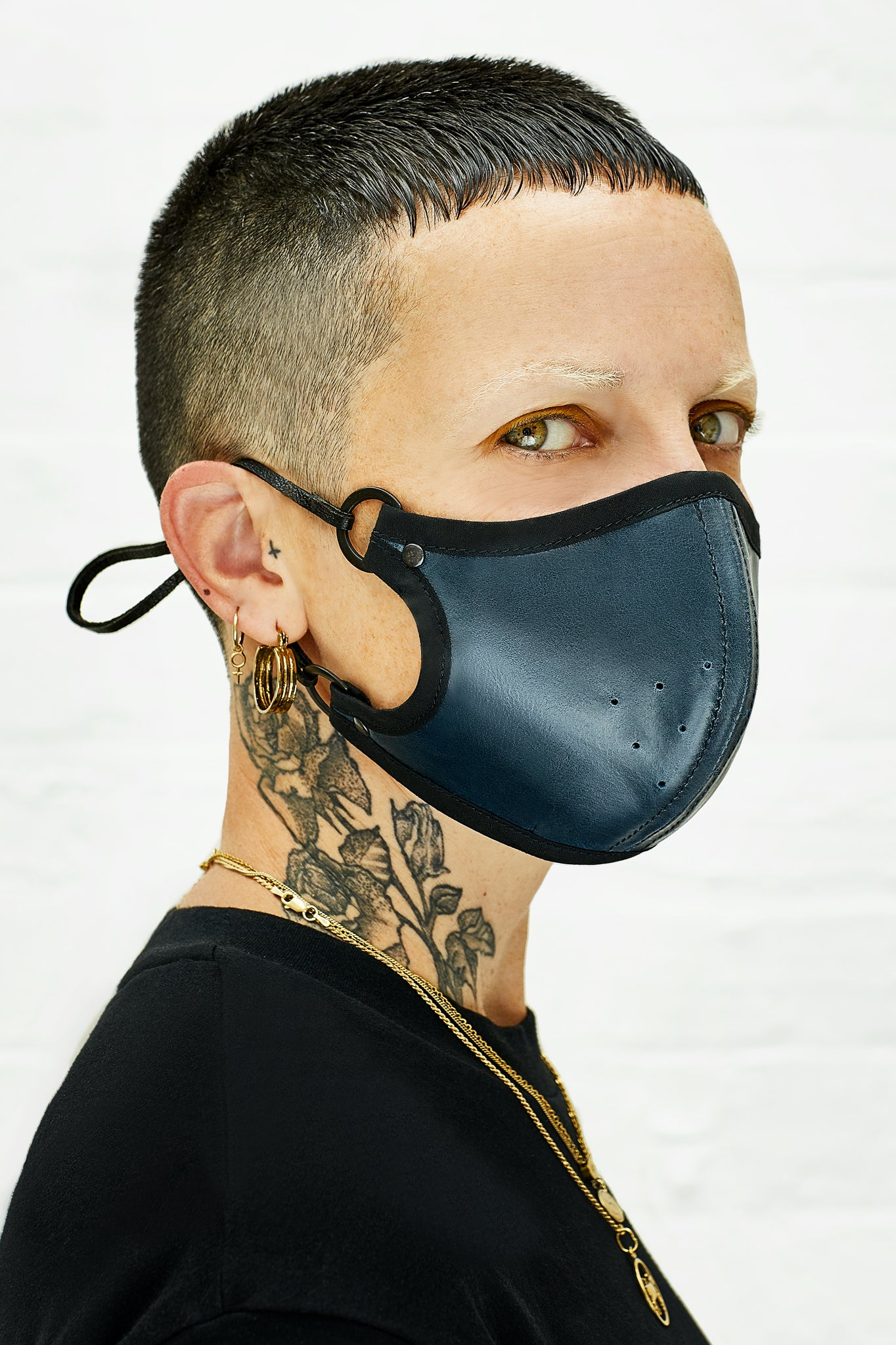 Blue leather face mask