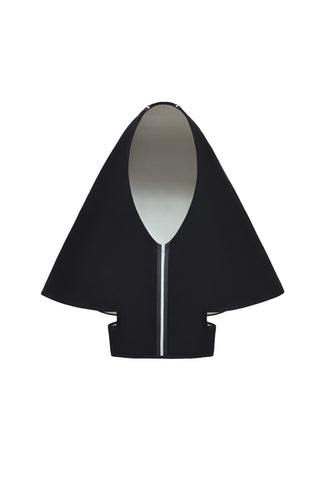 "MET Museum ""HEAVENLY BODIES"" Black and Cream Bonded Wool ""Florence"" Hood"