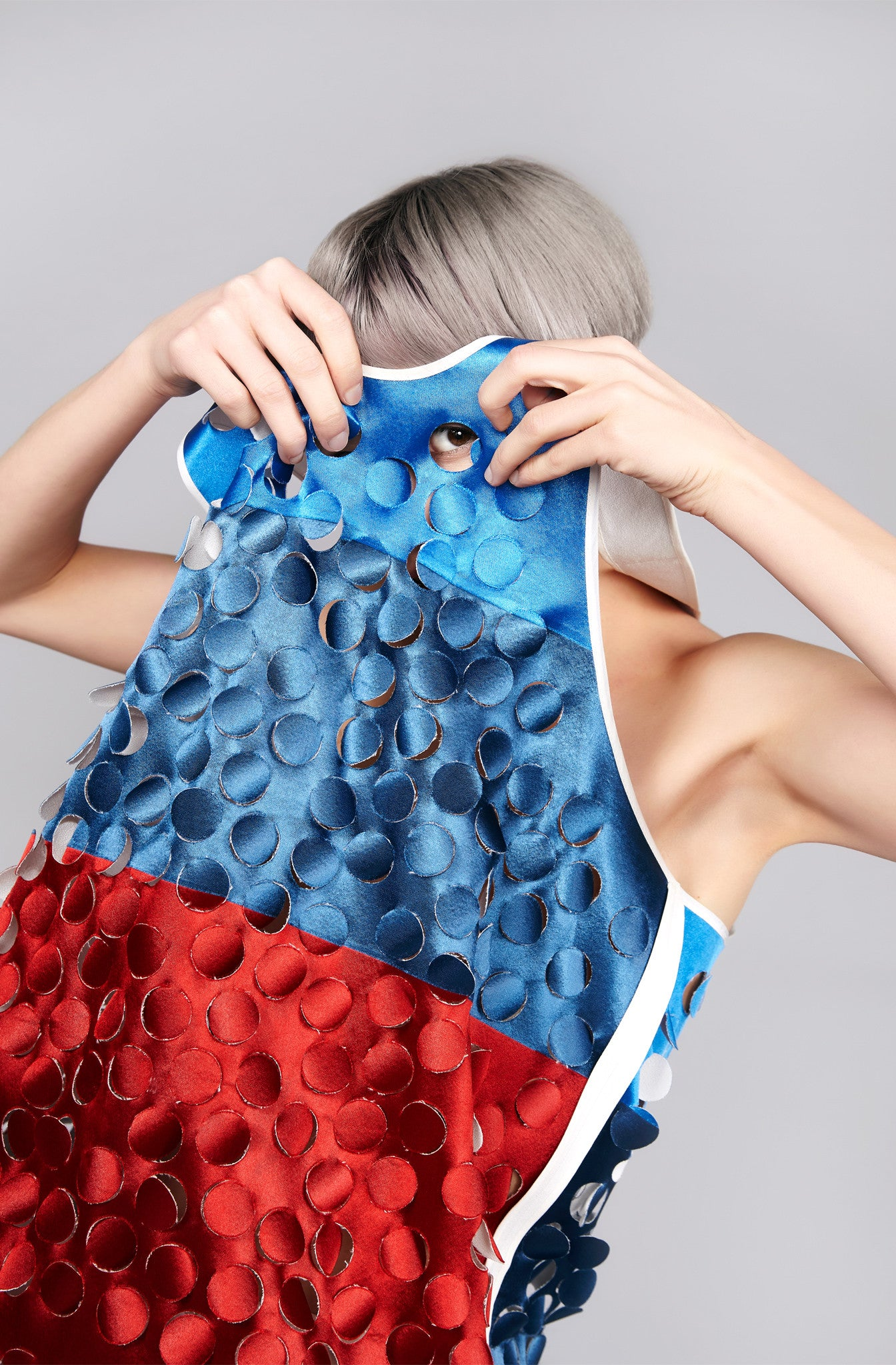 "Reversible White/Red/Blue Die Cut ""Lana"" Top"