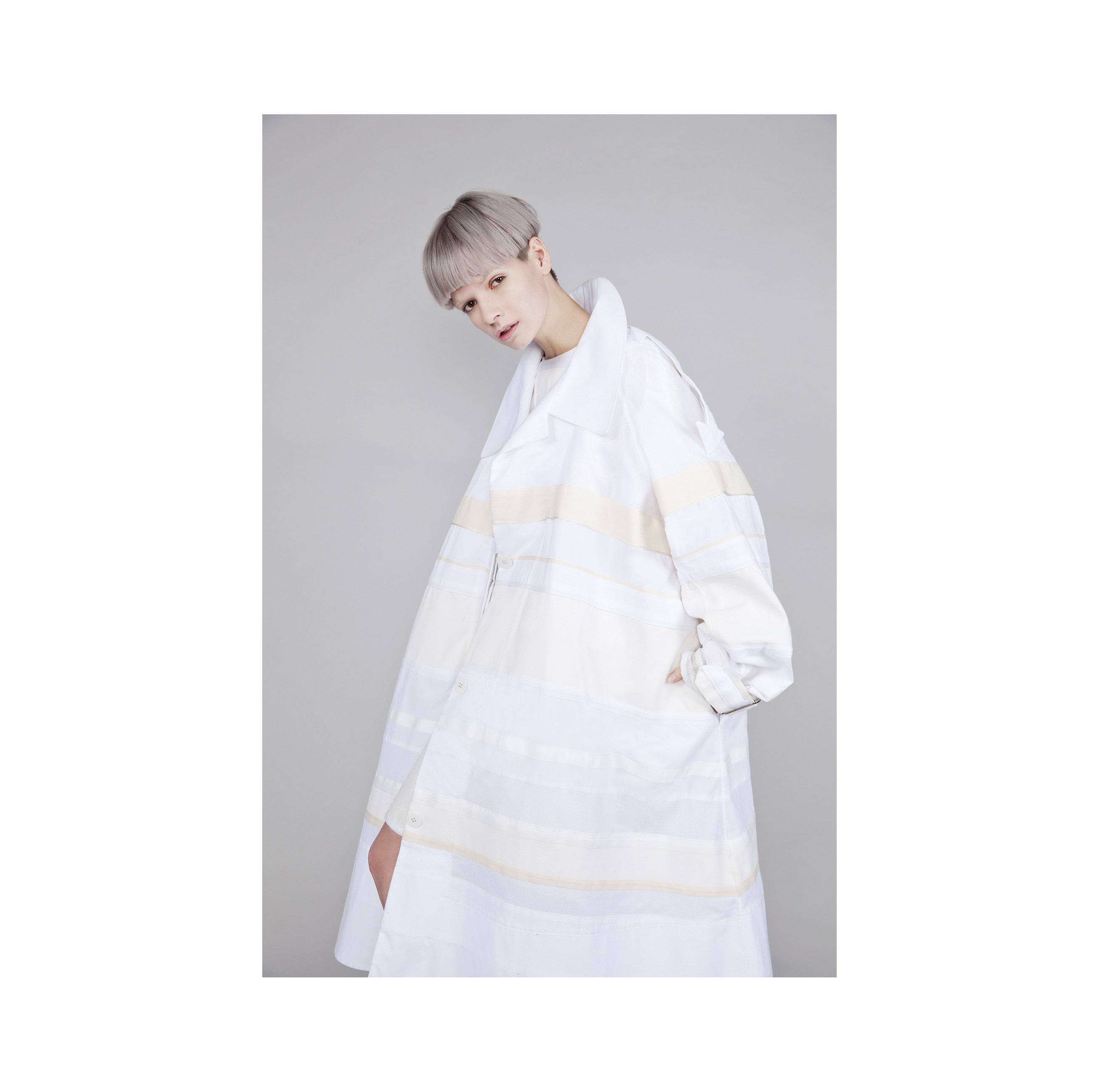 "White and Cream Mixed Textile ""Morrison"" Trench Coat"