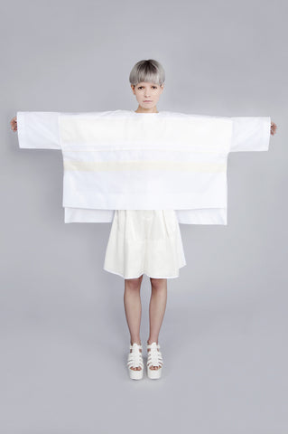 "White and Cream Ribbon Work ""Nuri"" Top"