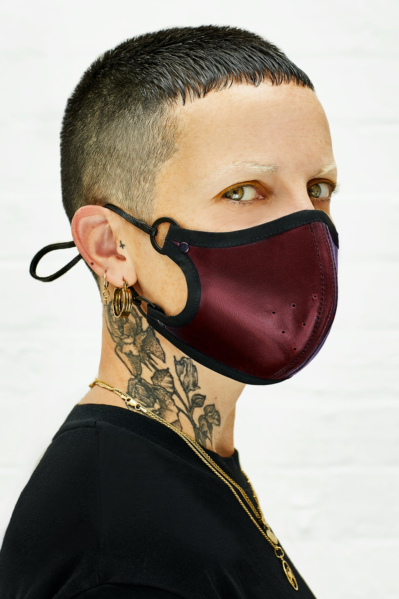 Oxblood leather face mask