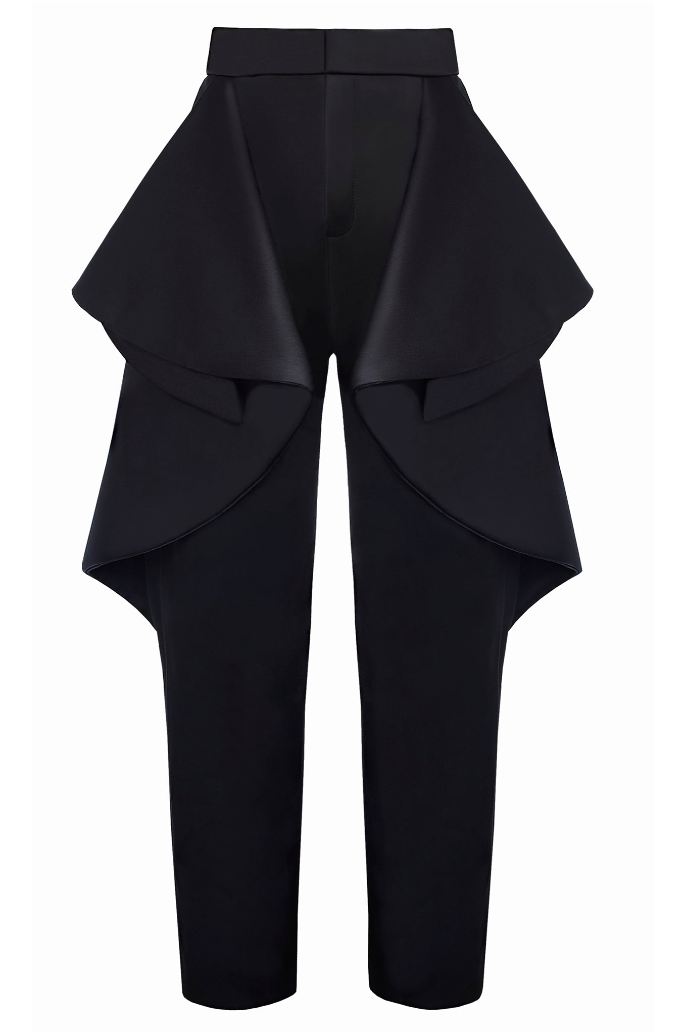 "The Cimone AW17 ""Smoulder"" pant is a artful mix between a trouser and a skirt, with an elegant two-tone side drape. These trousers are a dramatic statement!"