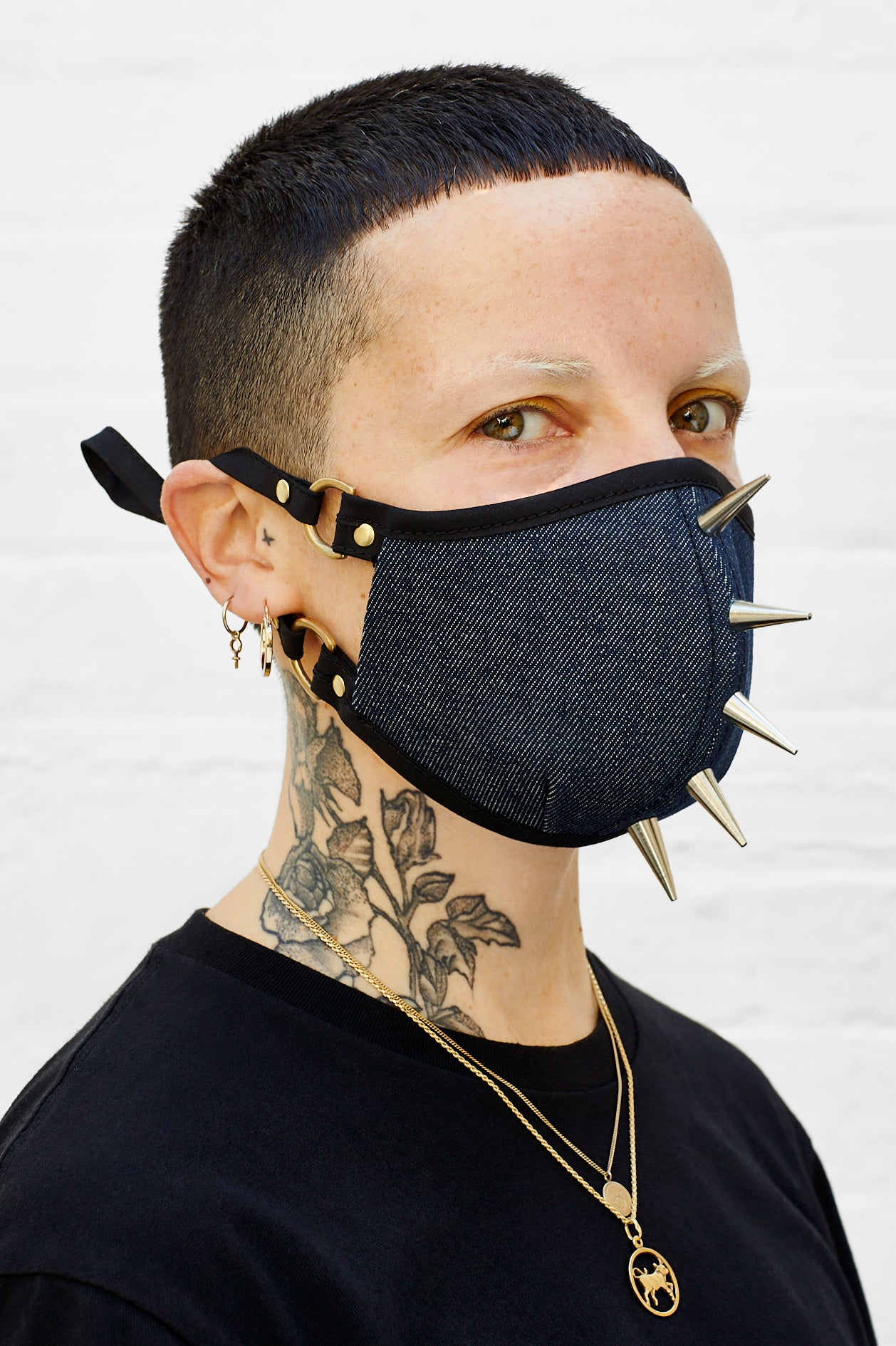 Studded Raw Denim Face Mask