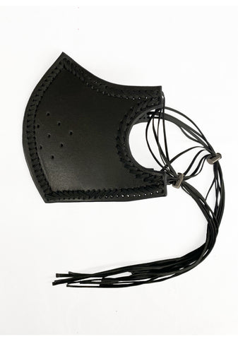 Hand woven leather mask