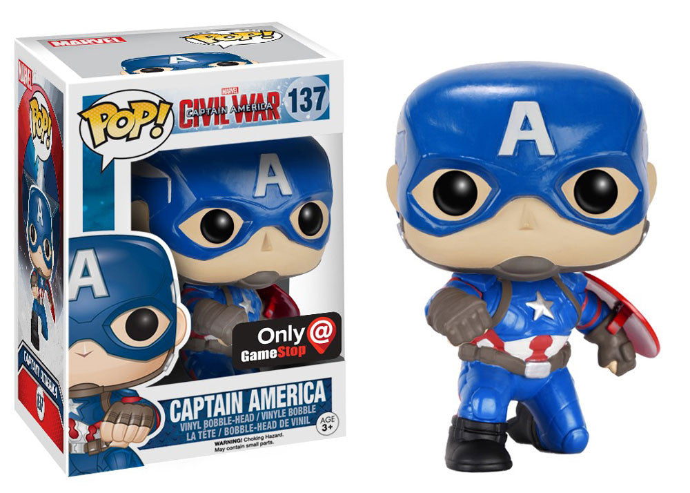 Funko POP! Captain America: Civil War - Action Captain America (137) - Gamestop Exclusive