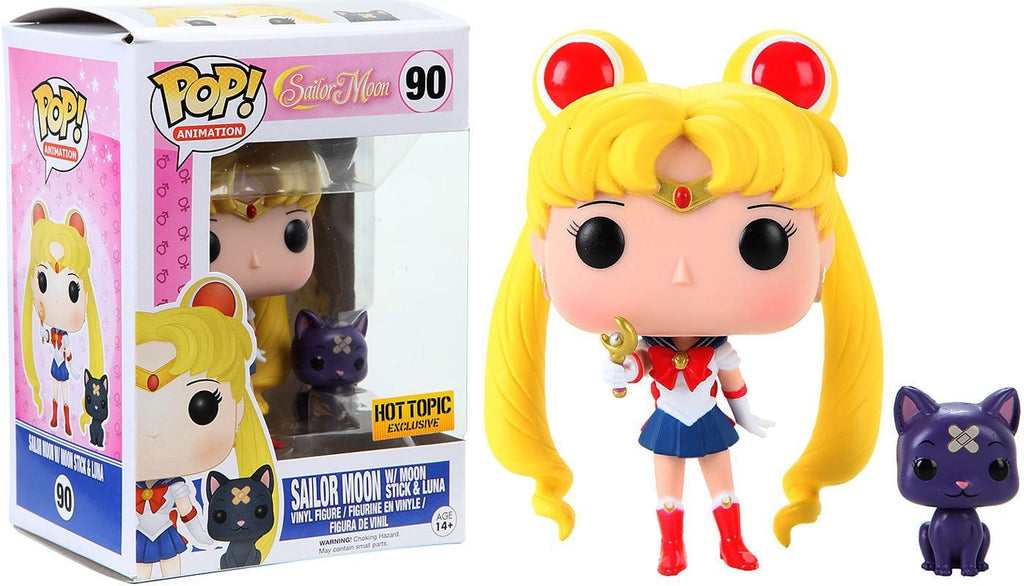 Funko POP! - Sailor Moon - Sailor Moon with Moon Stick & Luna (90) - Hot Topic Exclusive