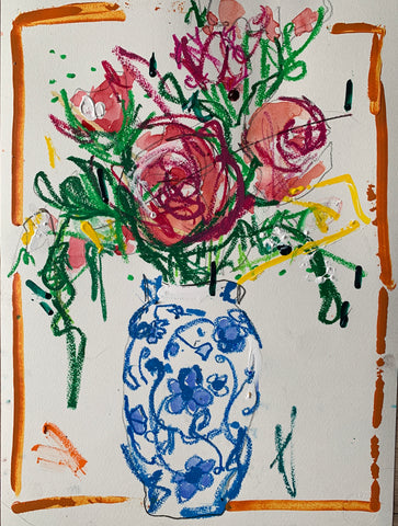 Floral Study in a Blue Vase with Orange