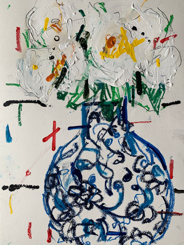 Floral Study in a blue black Vase