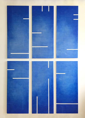 6 Cobalt Blue Encaustic Panels - Commission