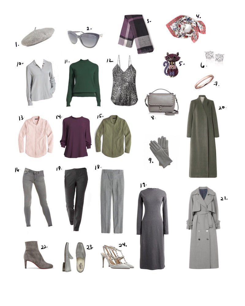 Capsule Core Wardrobe Plan in Grey, Pink, Plum, and Green - Business with Fun and Edge