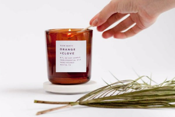 orange clove natural soy wax candle therapeutic essential oils clean burn urban oreganics fall collection