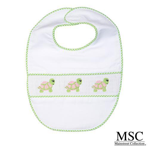 Smocked Bib - Green Turtle