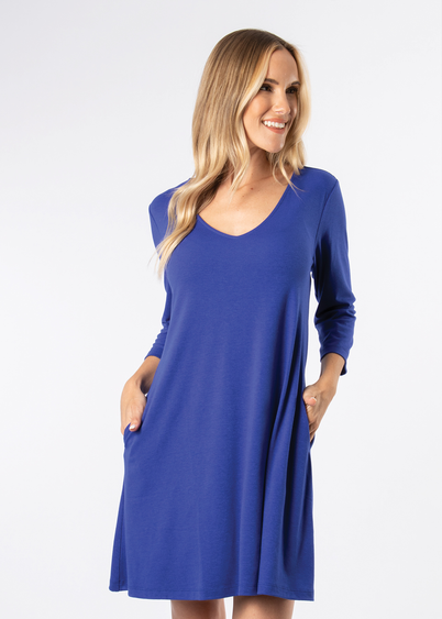 SN - Simply Noelle Everyday Basic Knit Dress - Cobalt