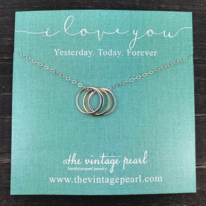 Necklace - I Love You Yesterday, Today, Forever - Sterling Silver