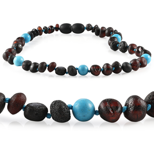 RBA - Grow With Me Baltic Amber Necklace Sets - Raw Cherry Turquoise