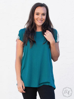 Adeline's Crochet Shoulder Short Sleeve - Teal
