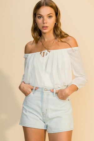 Off Shoulder Pleated Blouse - White