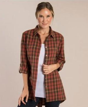 SN - Simply Noelle Plaid Zipper Back Top - XXLarge (16-18)
