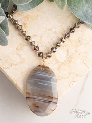 Showstopper Grey Beaded Necklace with Natural Stone Pendant