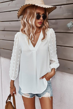 V-Neck Solid Long Sleeve Top - White