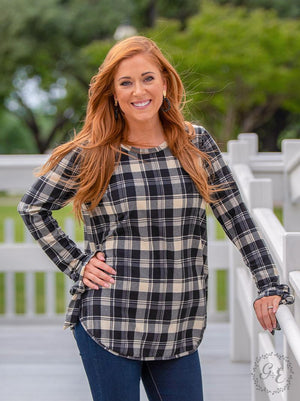 All Tied Up Top - Black Plaid