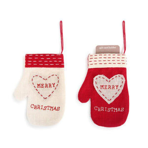 DEM - Christmas Mitten Ornament Gift Card Holder - Set of Two