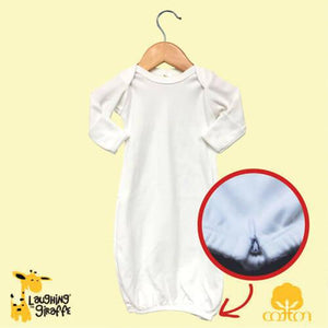 Kb - Cotton Baby Gown with Zipper - White - 0-3 Months