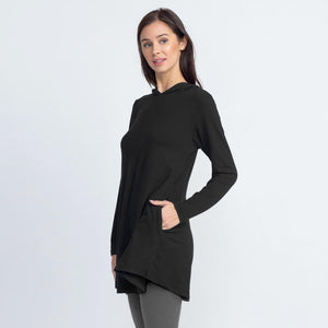JUD - Women's Hooded Long Sleeve Tunic Top - Black