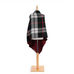 DEM - Black/Red Reversible Button Poncho