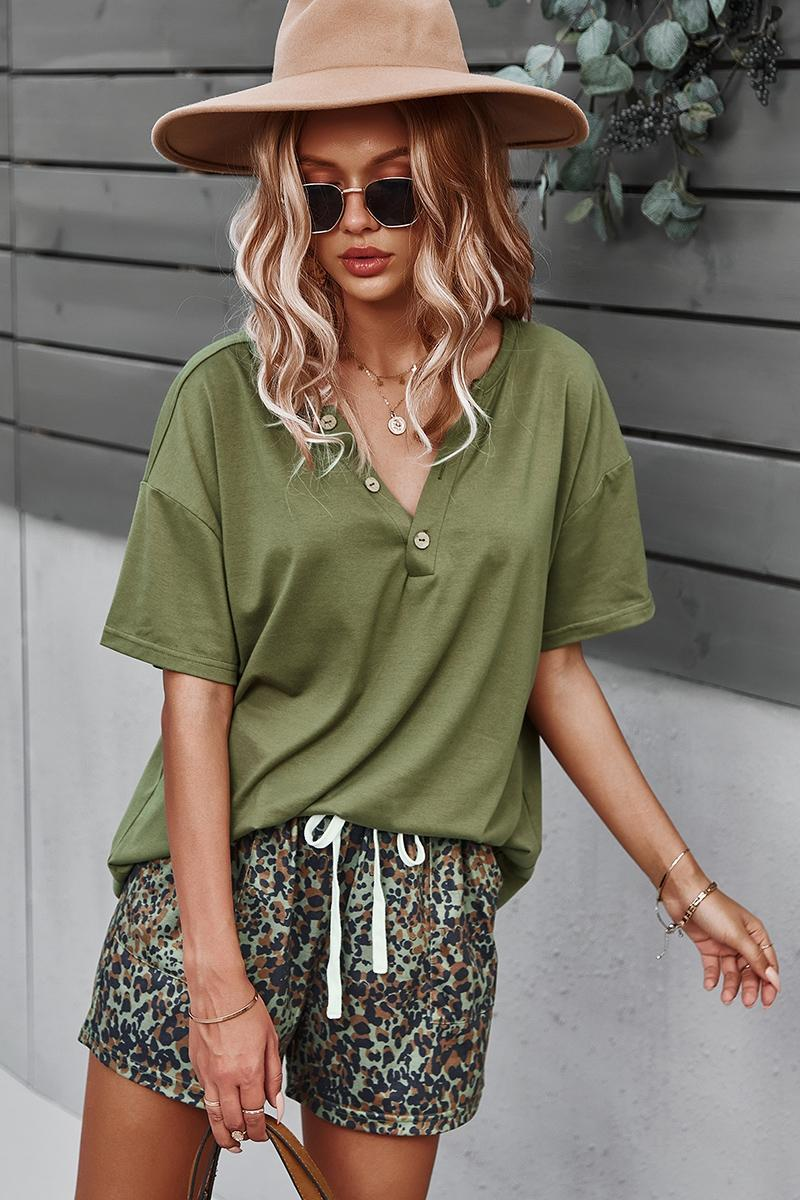 Solid Top and Print Short Set - Olive