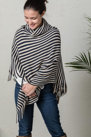 DEM - Cowl Neck Poncho - Navy and Cream