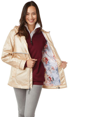 Rainjacket with Printed Floral Lining 5197 - Champagne