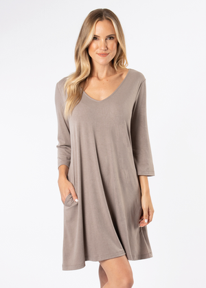 SN - Simply Noelle Everyday Basic Knit Dress - Taupe