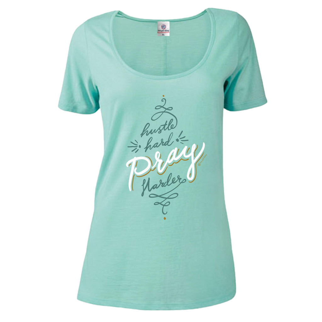 Itsa - Short Sleeve Scoop Neck - Pray Harder - Celadon