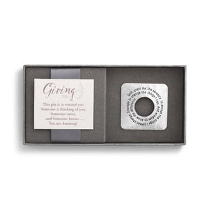 DEM - Giving Pin - Silver Square Serenity Prayer