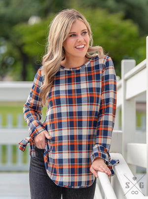All Tied Up Top - Orange Plaid