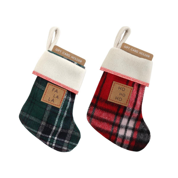 DEM - Christmas Stocking Ornament Gift Card Holder - Choice of Fa La OR Ho Ho Plaid