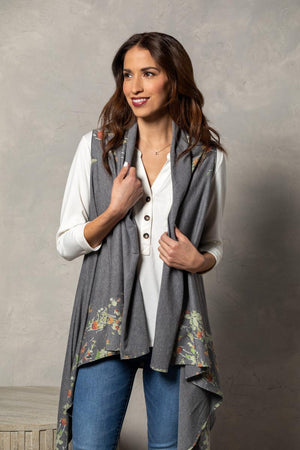 Soft Knit Scarf Vest - Floral on Heather Gray