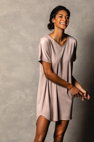 Bamboo Long Lounge Shirt - Mauve