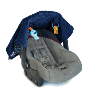 Cozy Happens Infant Car Seat Canopy & Tummy Time Mat - Indigo Helix