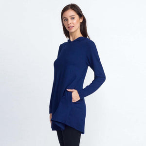 JUD - Women's Hooded Long Sleeve Tunic Top - Navy