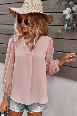 V-Neck Solid Long Sleeve Top - Pink