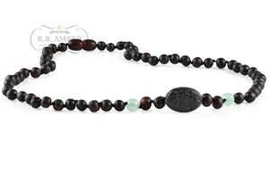 RBA - Adult Aromatherapy Necklace - Raw Cherry/Green Aventurine Lava Pendant