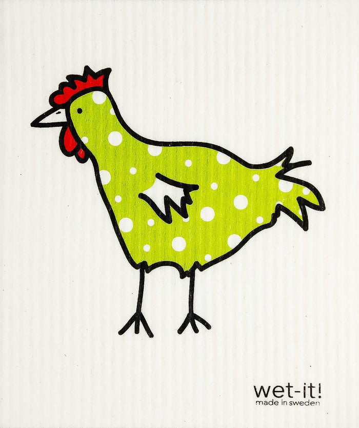 WI - Wet-It! Swedish Cloth - Spotted Green Chicken